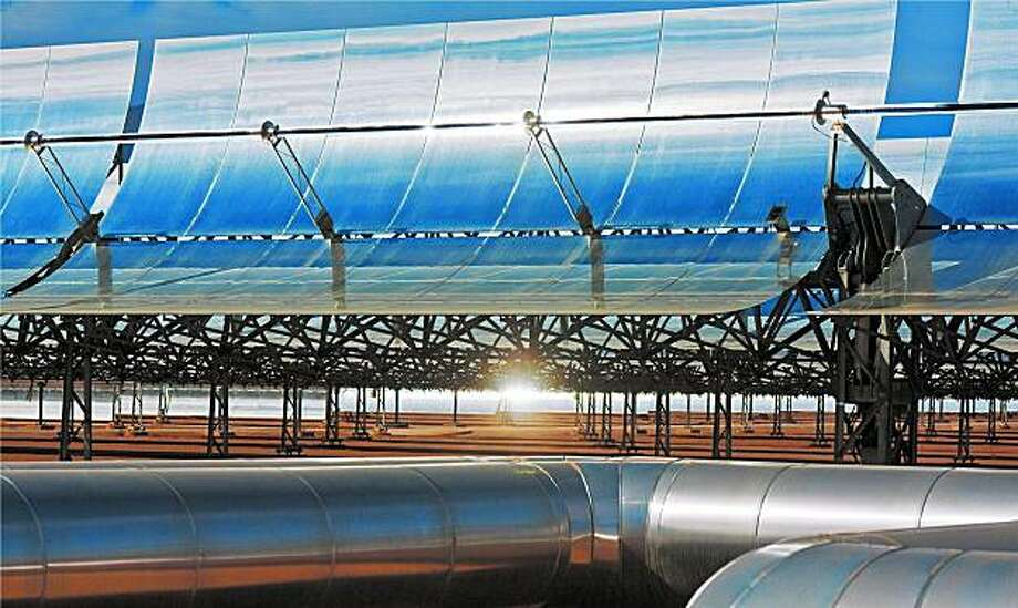 Solar Trust's thermal power plants are it's state-of-the-art parabolic trough solar collectors, the most highly efficient commercial technology available for capturing, converting and transmitting solar energy to utility companies and their customers. Photo: Solar Trust Of America, Bill Keegan