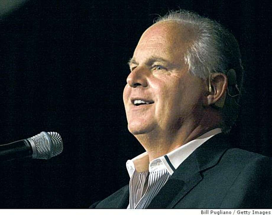 "NOVI, MI - MAY 3: Radio talk show host and conservative commentator Rush Limbaugh speaks at ""An Evenining With Rush Limbaugh"" event May 3, 2007 in Novi, Michigan. The event was sponsored by WJR radio station as part of their 85th birthday celebration festivities. (Photo by Bill Pugliano/Getty Images) Photo: Bill Pugliano, Getty Images"