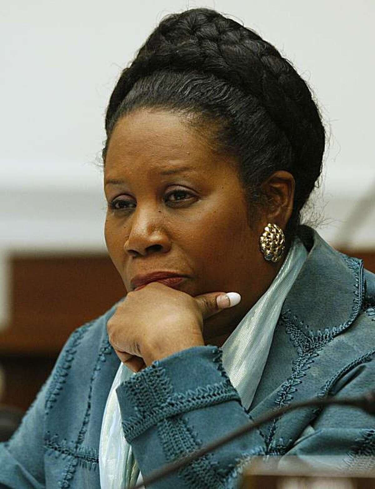House Foreign Affairs Committee member Rep. Sheila Jackson-Lee, D-Texas, listens to witness testimony during a hearing on Capitol Hill in Washington, Wednesday, Oct. 24, 2007. (AP Photo/Charles Dharapak)