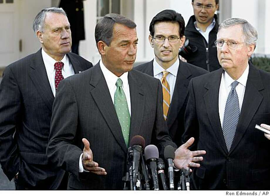 House Minority Leader John Boehner of Ohio, second from left, speaks to reporters outside the White House in Washington, Friday, Jan. 23, 2009, after a meeting between Congressional leaders and President Barack Obama to discuss the economy. From left are, Sen. Jon Kyl, R-Ariz.; Boehner; House Minority Whip Eric Cantor of Va.; and Senate Minority Leader Mitch McConnell of Ky.  (AP Photo/Ron Edmonds) Photo: Ron Edmonds, AP