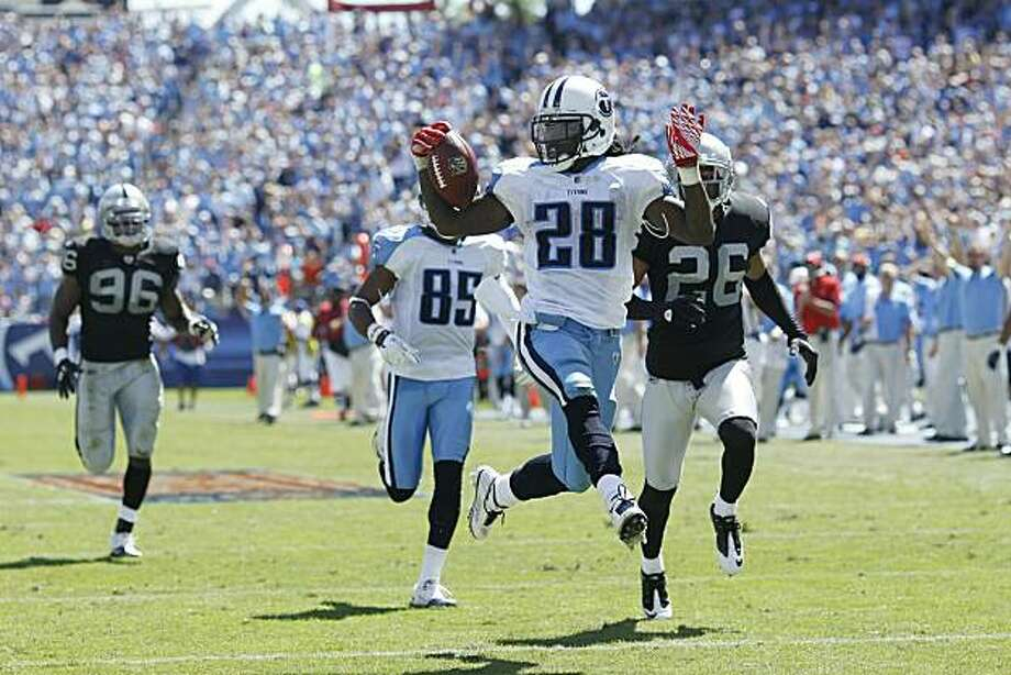 NASHVILLE - SEPTEMBER 12: Chris Johnson #28 of the Tennessee Titans runs into the end zone for a 76-yard touchdown in the first half of the NFL season opener against the Oakland Raiders at LP Field on September 12, 2010 in Nashville, Tennessee. Photo: Joe Robbins, Getty Images