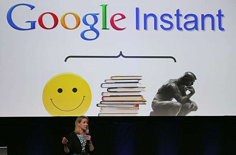 SAN FRANCISCO - SEPTEMBER 08:  Google Vice President of Search Product and User Experience Marissa Mayer announces Google Instant during a special launch event September 8, 2010 in San Francisco, California. Google announced the launch of Google Instant,a faster version of Google search that streams results live as you type your query. Photo: Justin Sullivan, Getty Images
