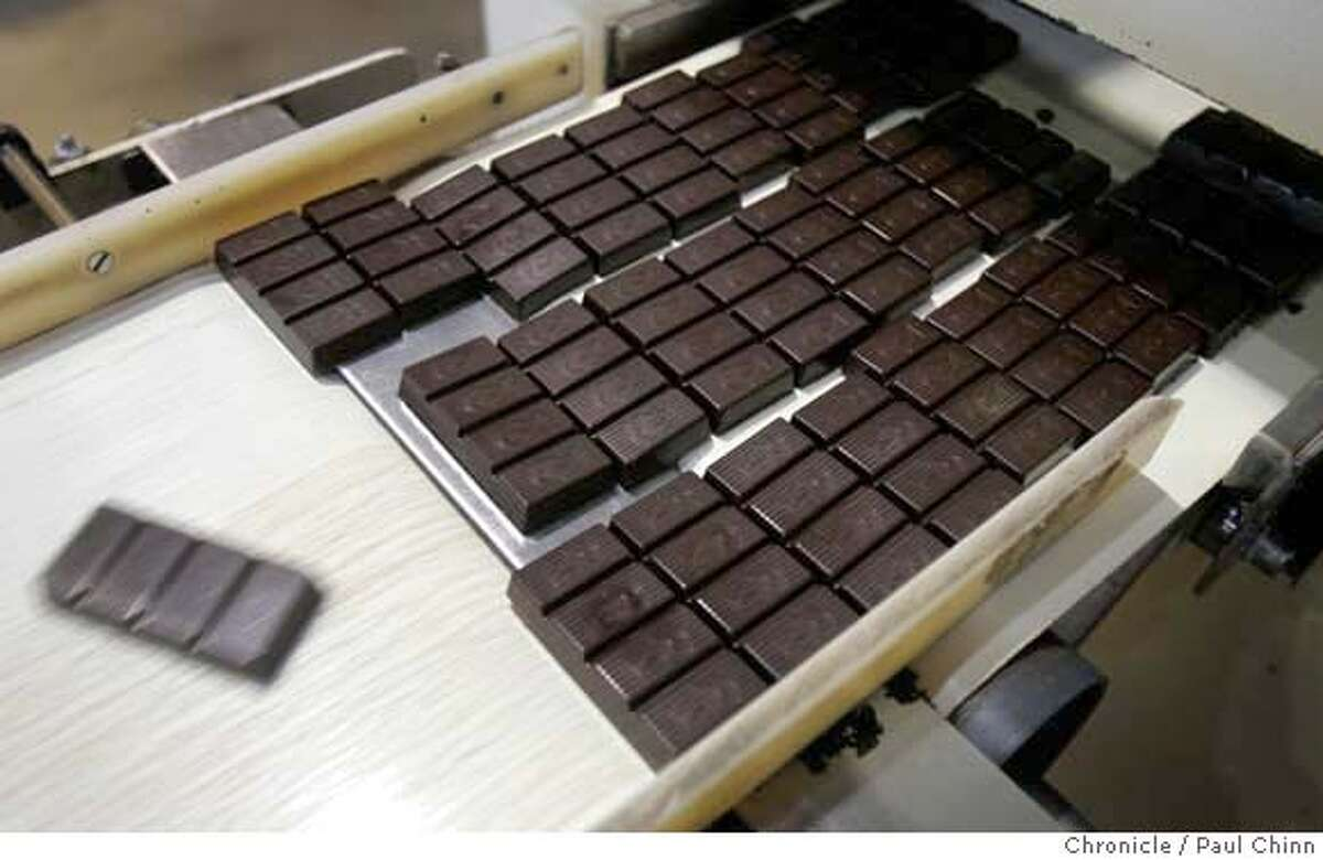 One ounce bars of dark chocolate roll off a conveyor belt at the Scharffen Berger chocolate factory in Berkeley, Calif. on Tuesday, July 3, 2007. A study by German researchers claims that a daily dose of dark chocolate helps lower blood pressure. PAUL CHINN/The Chronicle