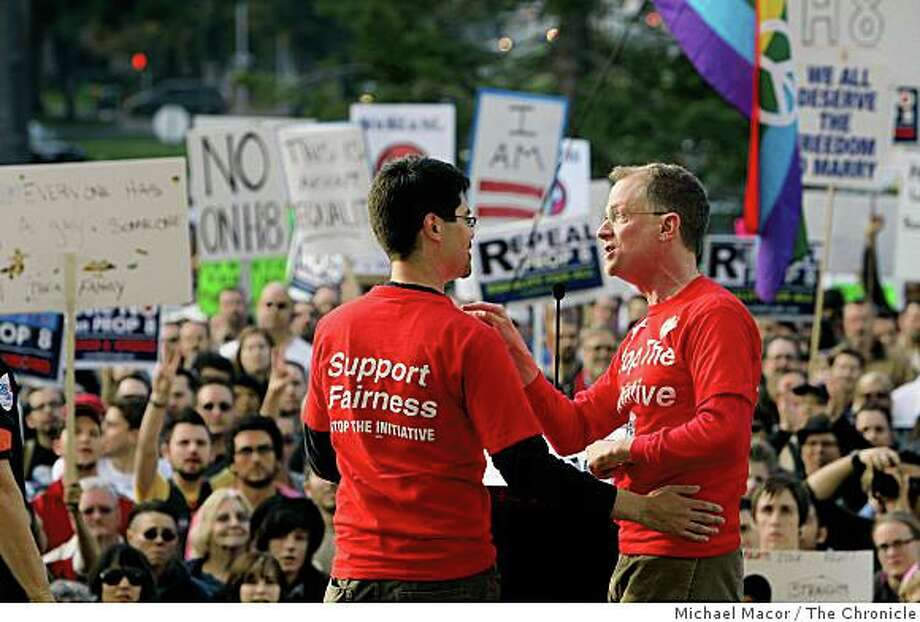 Stuart Gaffney and John Lewis, plaintiffs in the California Supreme Court same-sex marriage case speak to the thousands gathered for a statewide protest against the passage of Proposition 8. Photo: Michael Macor, The Chronicle