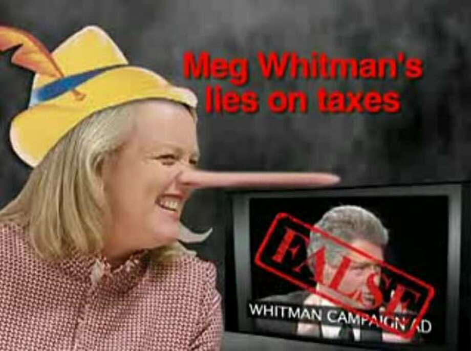 The Jerry Brown for Governor campaign responds to a Meg Whitman advertisement.  Whitman's ad contained Bill Clinton making statements about Brown raising taxes which were based on a report now known to be false. Photo: Brown For Governor 2010, Jerrybrown.org