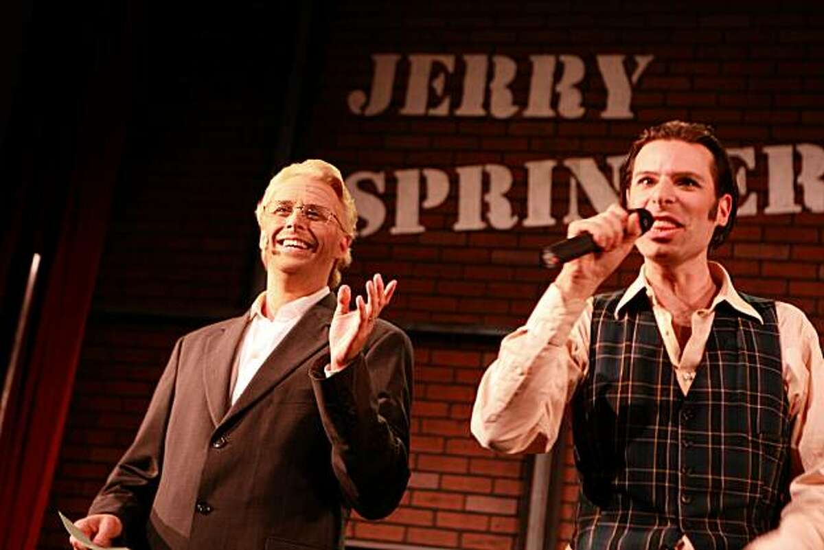 """From RIGHT, """"warm up man, Jonathan"""" played by Jonathan Reisfeld and Patrick Michael Dukeman, center, who plays Springer during the first act of the final dress rehearsal for the San Francisco premiere of """"Jerry Springer the Opera"""" by Ray of Light Productions at Victoria Theatre in San Francisco, Calif. on Wednesday, September 8, 2010. Kat Wade / Special to the Chronicle"""