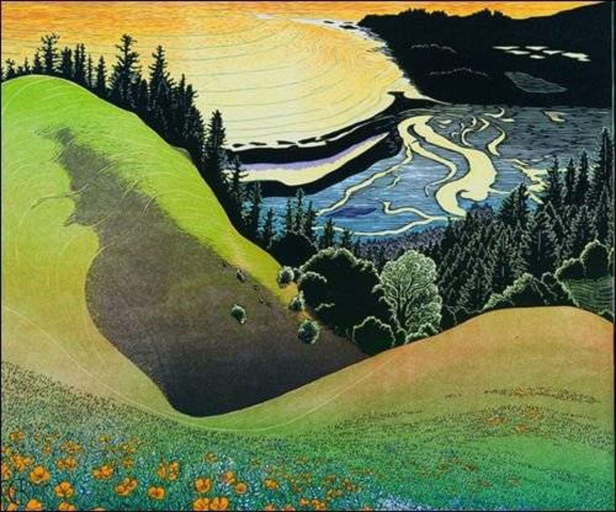 Bolinas Ridge woodcut by Tom Killion on display at the Book Club of California