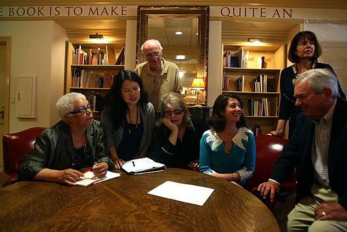 Left to right-- Anne W. Smith, Notara Lum, Henry Snyder (behind), Kathleen Burch, Danya Winterman, Lucy Rodgers Cohen (standing), and Malcolm Whyte, of the Book Club of California having a board meeting at their new headquarters in San Francisco, Calif., on Wednesday, September 1, 2010. The Book Club of California is the largest club for book collectors in the country.