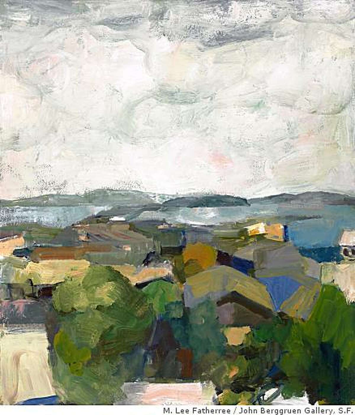 """""""Rooftops and Bay"""" (1961) oil on canvas by Elmer Bischoff. 67"""" x 59"""""""