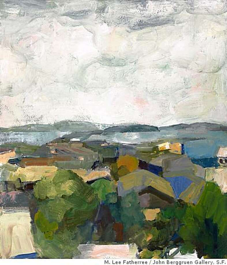 """Rooftops and Bay"" (1961) oil on canvas by Elmer Bischoff. 67"" x 59"" Photo: M. Lee Fatherree, John Berggruen Gallery, S.F."