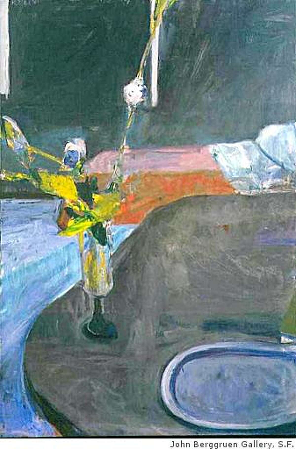 """""""Interior with Flowers"""" (1961) oil on canvas by Richard Diebenkorn. 57"""" x 39"""""""