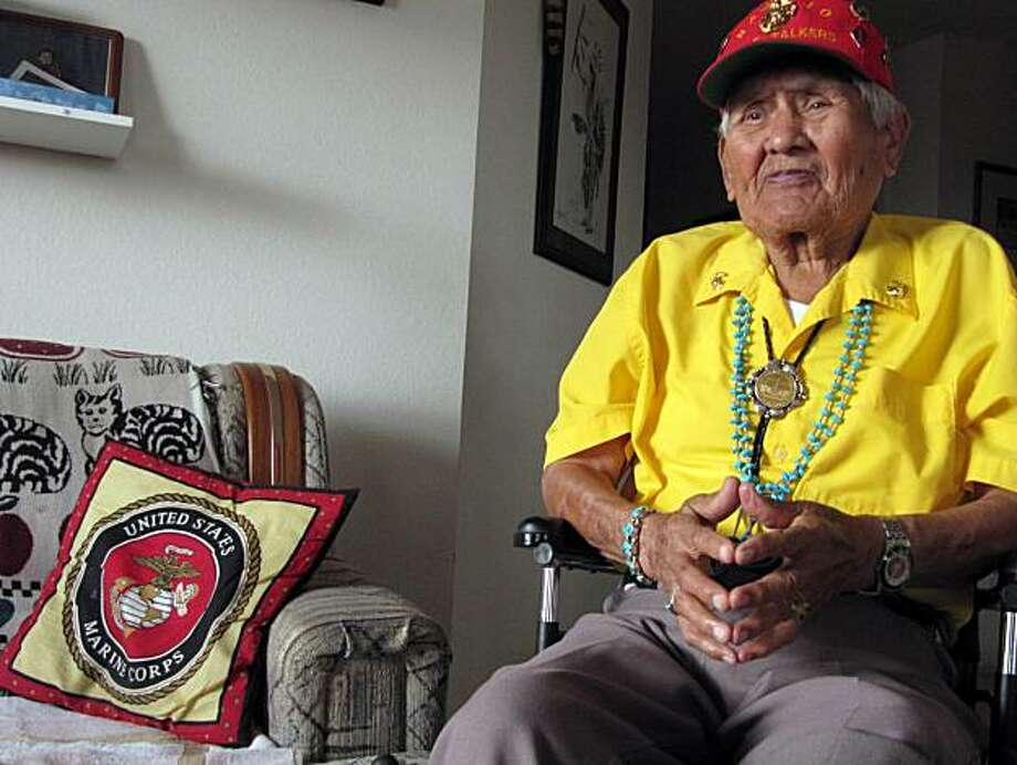 This Nov. 29, 2009 photo shows Chester Nez talking about his time as a Navajo Code Talker in World War II from his home in Albuquerque, N.M.  Only three of the Original 29 Code Talkers survive, and Nez is one of them. Photo: Felicia Fonseca, AP