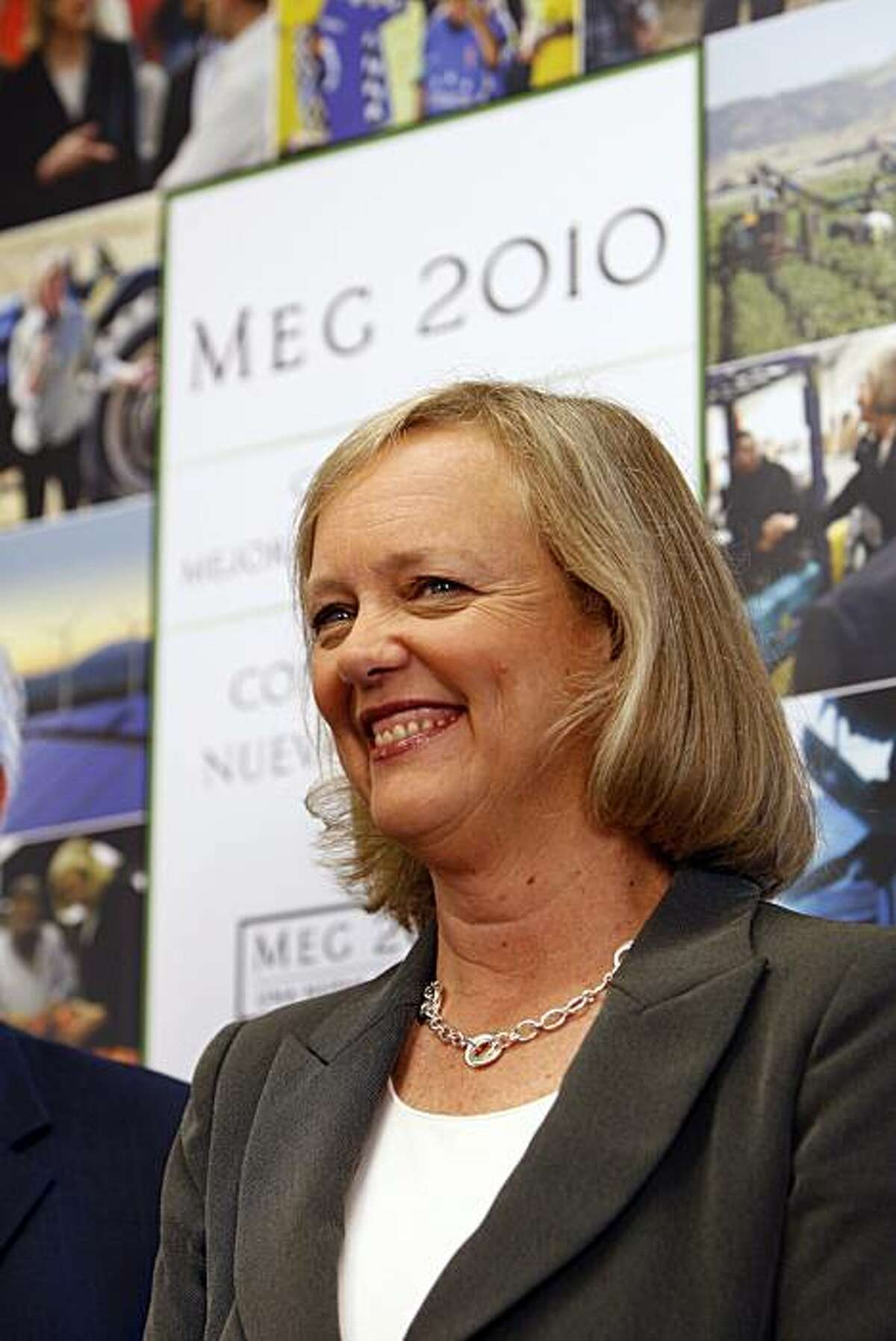 Republican gubernatorial candidate Meg Whitman speaks to supporters about her plan to create jobs at her office opening event in East Los Angeles on Wednesday, Aug. 4, 2010, in Los Angeles, Calif. Whitman's rival in the November general election is Democrat Jerry Brown.