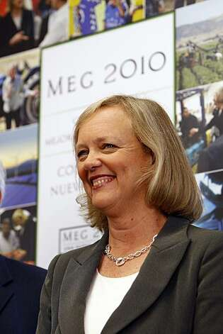 Republican gubernatorial candidate Meg Whitman speaks to supporters about her plan to create jobs at her office opening event in East Los Angeles on Wednesday, Aug. 4, 2010, in Los Angeles, Calif. Whitman's rival in the November general election is Democrat Jerry Brown. Photo: Damian Dovarganes, Associated Press