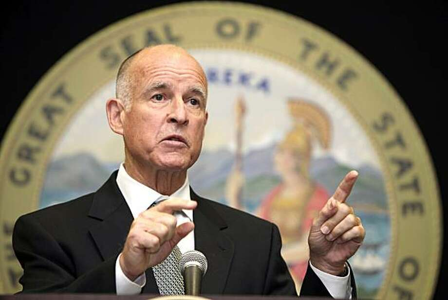 California Attorney General Jerry Brown talks during a news conference in Los Angeles on Monday, Aug 9, 2010. Brown has ordered past and present officials of the City of Bell to turn over their financial records in a widening investigation of a salary scandal in the Los Angeles suburb. Photo: Nick Ut, Associated Press