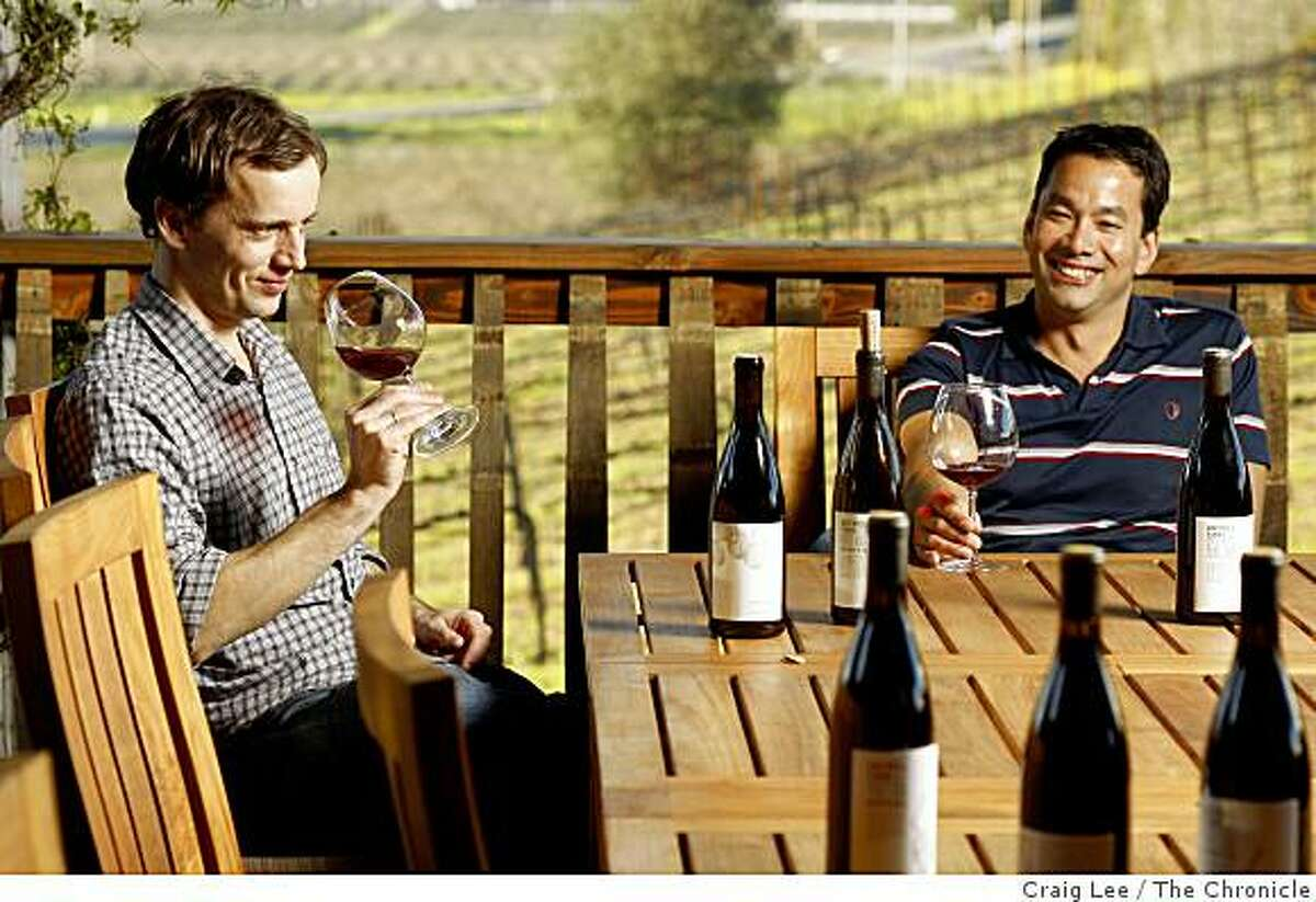 Anthony Filiberti (left) and David Low (right) of Anthill Farms WInery in Healdsburg, Calif., on January 16, 2009.