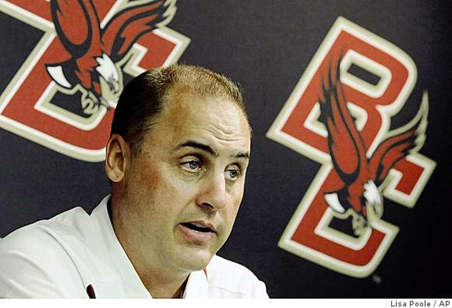 ** FILE ** This Aug. 8, 2008 file photo shows Boston College head football coach Jeff Jagodzinski talking to members of the media during Boston College football media day at Boston College in Boston. Jagodzinski met with New York Jets officials Tuesday Jan. 6, 2009,  to discuss their head coaching vacancy _ an interview that was expected to cost him his job with the Eagles.(AP Photo/Lisa Poole, File) Photo: Lisa Poole, AP