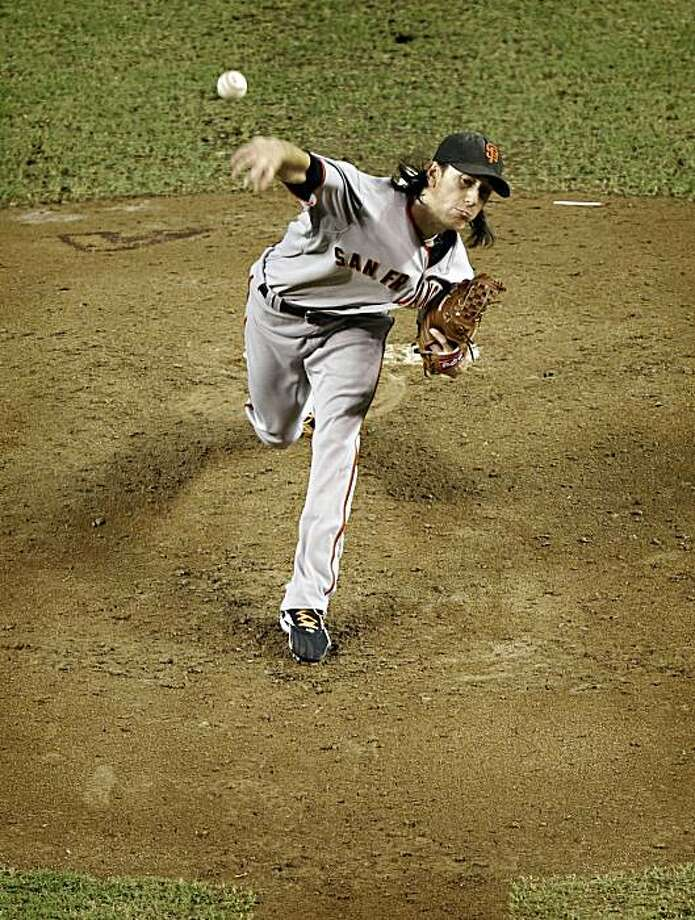 San Francisco Giants starter Tim Lincecum delivers a pitch against the Arizona Diamondbacks during the fifth inning of a baseball game Tuesday, Sept. 7, 2010, in Phoenix. Photo: Matt York, AP