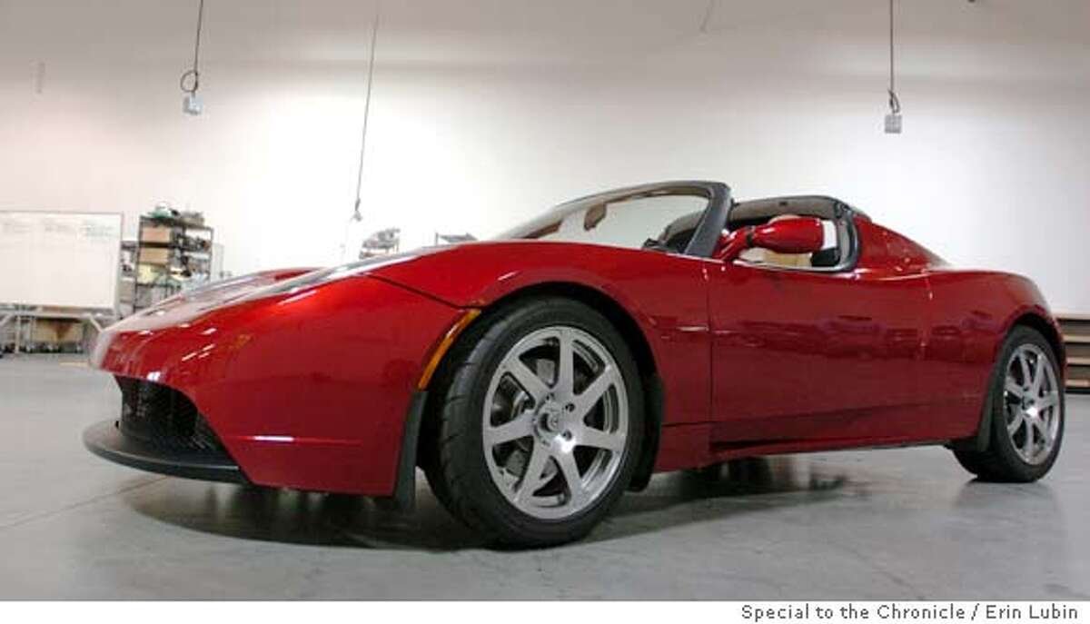 TeslaXX_EAL_002.JPG A Tesla Roadster electric sports car sits at the Tesla Motor company headquarters in San Carlos Tuesday, August 8, 2006. The Tesla Roadster, one of only two currently in existence, costs $100K and goes zero to 60 in 4 seconds. Event on 08/08/06 in San Carlos. Erin Lubin / For the Chronicle Ran on: 12-17-2006 The Tesla Roadster is equipped with a 50 kilowatt-hour battery pack and 248-hp electric motor. It was named one of Time magazines best inventions of 2006.
