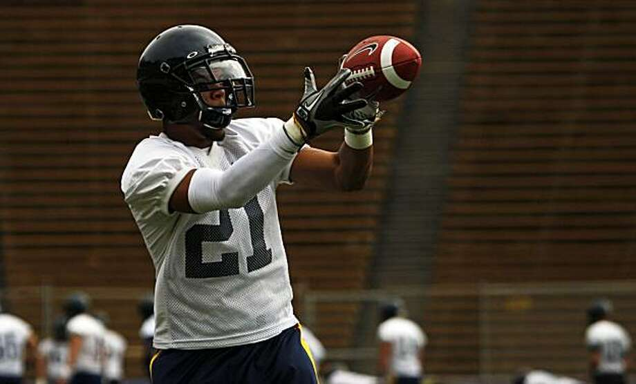 Cal's wide receiver Keenan Allen hauls in a pass during team workouts at Memorial Stadium in Berkeley Saturday August 7, 2010. Photo: Lance Iversen, The Chronicle