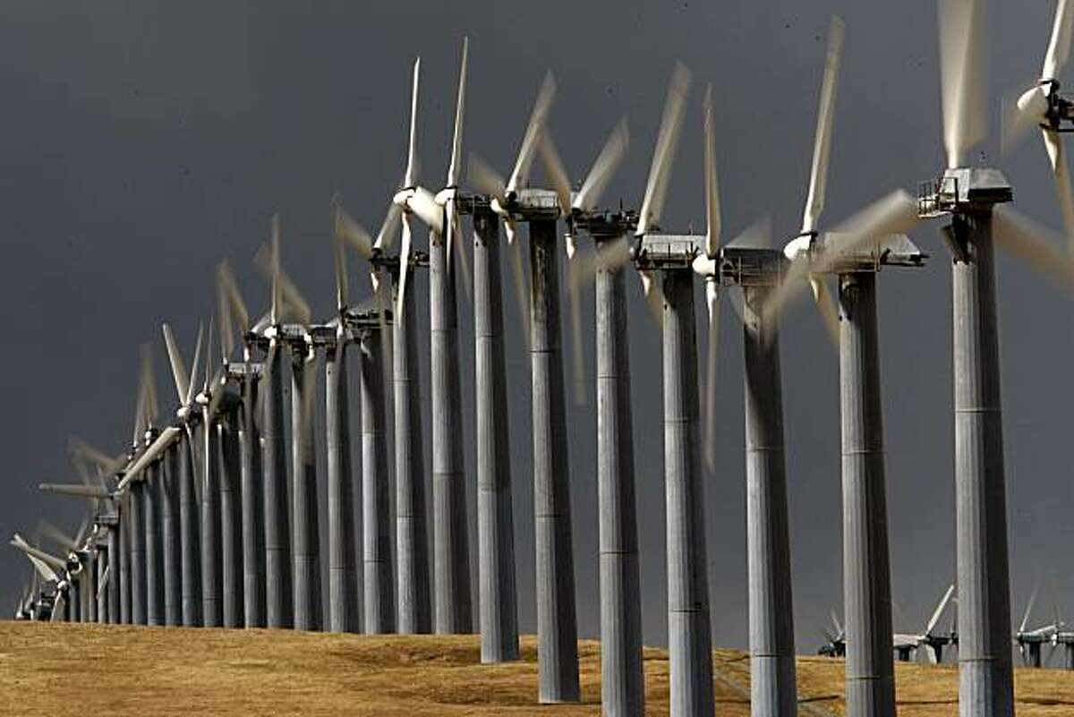 Wind generators along Mountain House Road, near Livermore, Calif. on Tuesday April 14, 2009. Altamont Pass is home to one of the largest wind farms in the country.