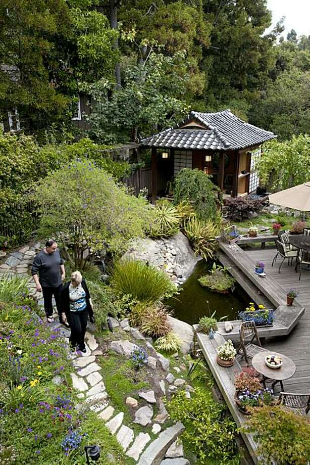Jim and Bonnie Bell have created a personal sanctuary in their backyard that features a custom-built Japanese style tea house complete with water features and a koi pond and is photographed in Berkeley, Calif., on Sunday, August 8, 2010. Photo: Chad Ziemendorf, The Chronicle