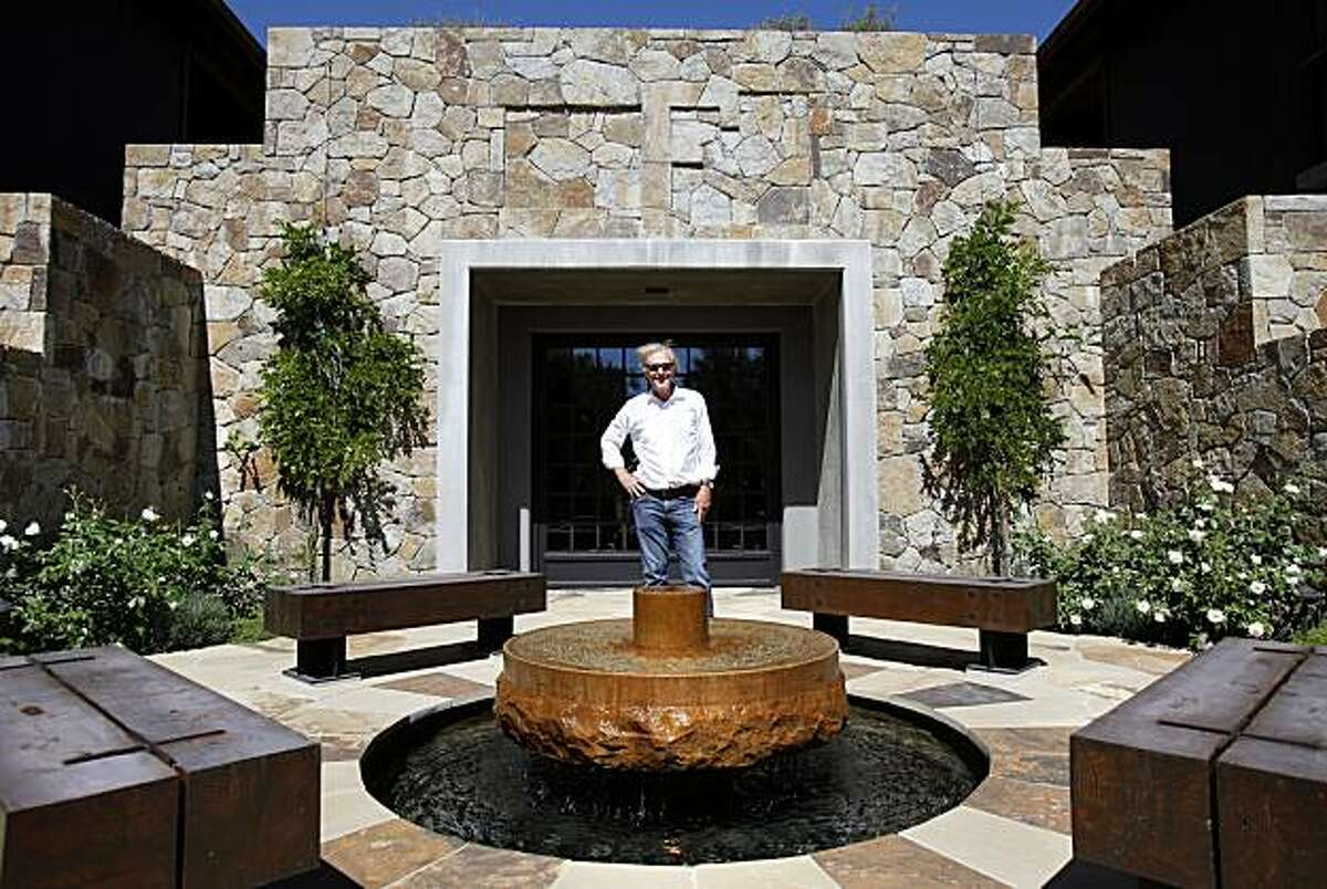 Howard Backen is pleased with the Futo Winery, he stands at the entrance to the underground cellars. Much of the rock used is local. Howard Backen, architect of wine country mansions and wineries, talks about design in his life Thursday September 2, 2010.