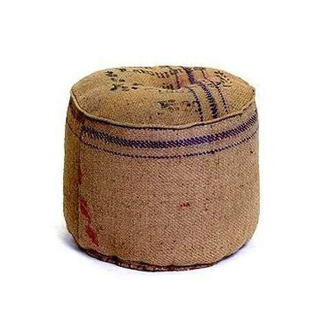 Burlap Ottoman from Hudson Goods. (stores.homestead.com)
