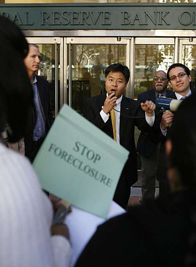 California Assemblyman Ted Lieu speaks to about 100 protesters who marched through San FranciscoÍs financial district on Thursday, Jan. 15, 2009. The group called on major banks that received billions in federal bailout funds to do more to funnel that money to the communities most in need. Photo: Kim Komenich, The Chronicle