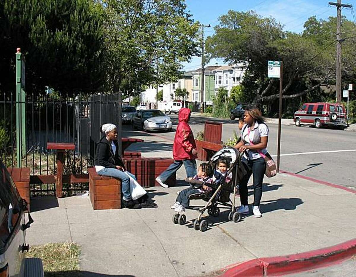 The Outdoor Living Room installation on a West Oakland street corner, furniture designed and built by West Oakland Greening Project, is among the examples of offbeat urbanism being explored in an exhibit at the SPUR Urban Center from Sept. 7 to Oct. 29, 2010.