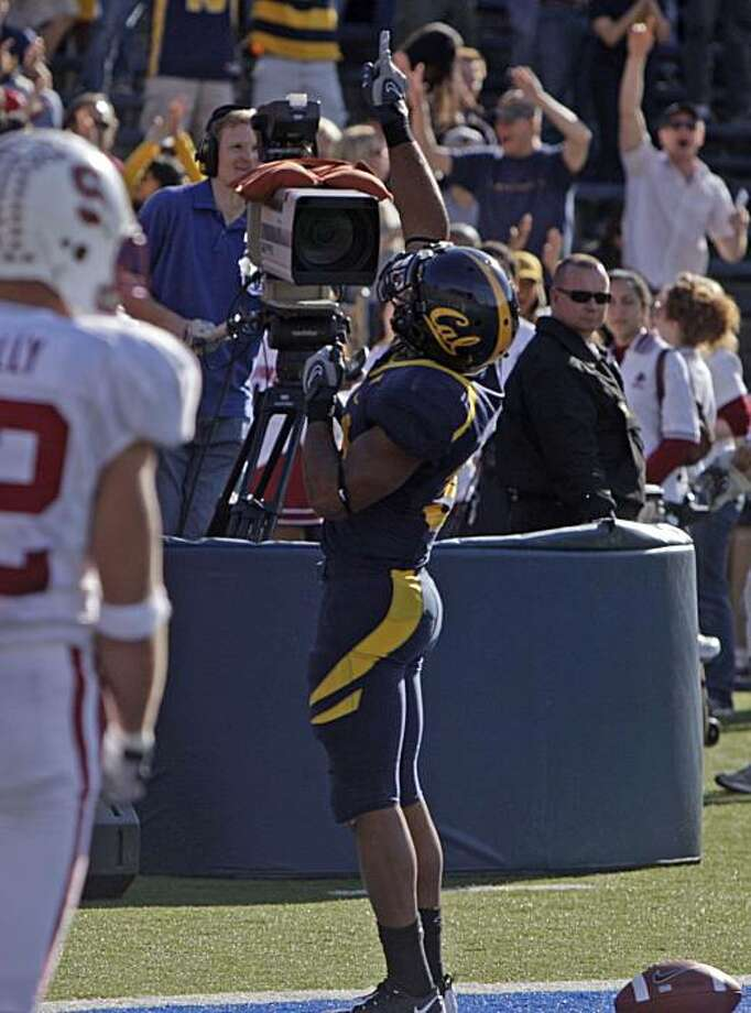 Cal's Shane Vereen reacts to scoring a touchdown in the first half as California defeats Stanford 37-16 in the annual Big Game in Berkeley, Calif, on Saturday, Nov. 22, 2008. Photo: Kurt Rogers, The Chronicle