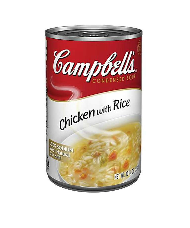In this product image provided by Campbell's Soup Co., a can of Chicken with Rice soup displaying new labeling is shown. is shown, displaying new labeling. Photo: AP