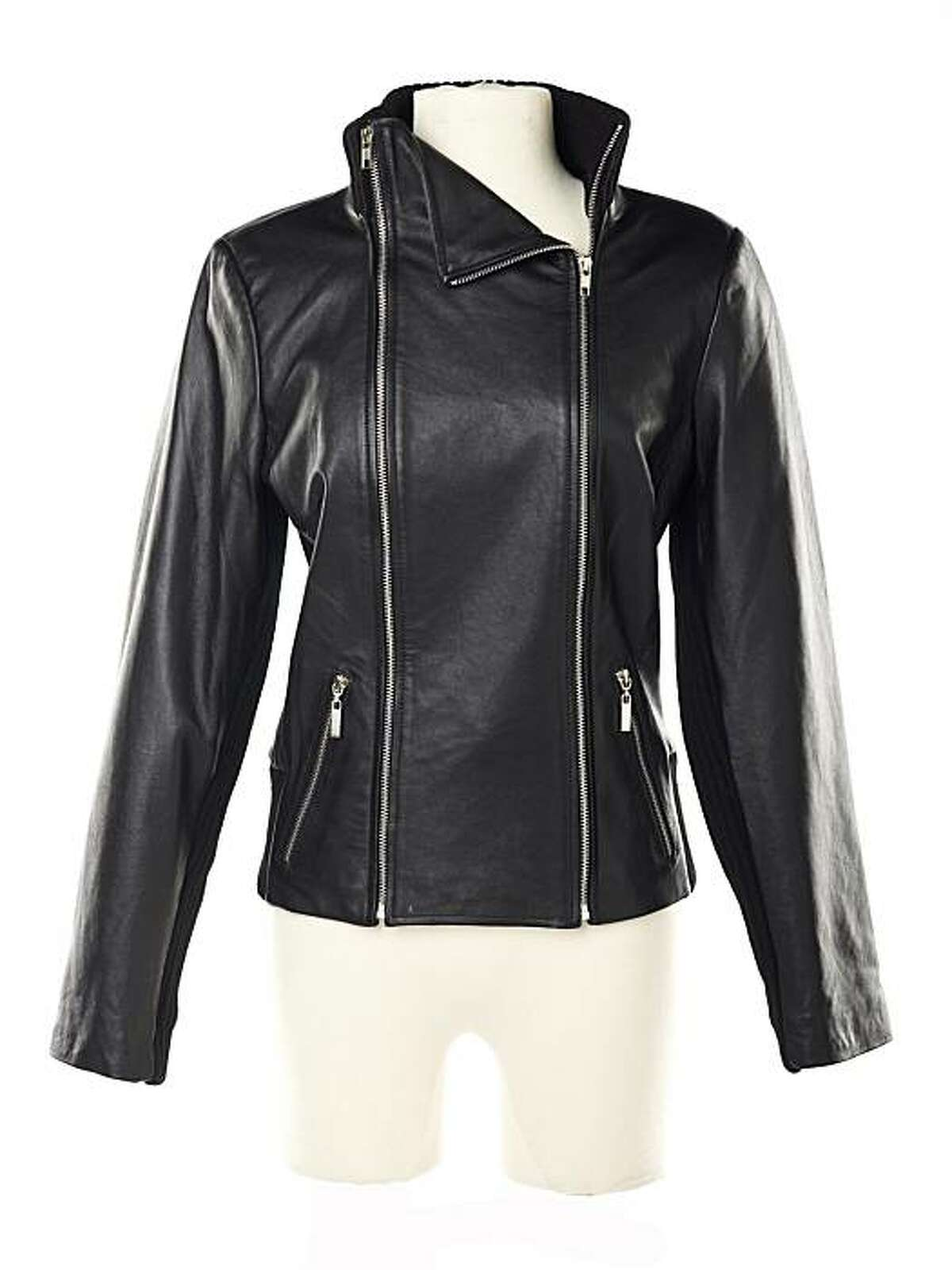 Rachel Zoe Lamb Leather Jacket with Knit Trim (approximately $179.75) on QVC.