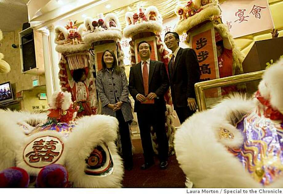 San Francisco Supervisors  Carmen Chu, David Chiu and Eric Mar (left to right) stand onstage while they are honored during a dinner organized by the Chinese Chamber of Commerce at the New Asia Restaurant in San Francisco , Calif., on Friday, January 9, 2009. Photo: Laura Morton, Special To The Chronicle