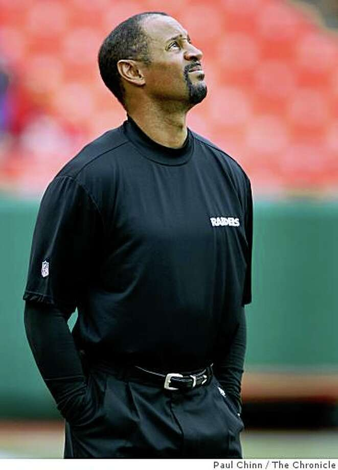 Wide receivers coach James Lofton watches pre-game warmups before the Oakland Raiders vs. Kansas City Chiefs football game at Arrowhead Stadium in Kansas City, Mo., on Sunday, Sept. 14, 2008. Photo: Paul Chinn, The Chronicle