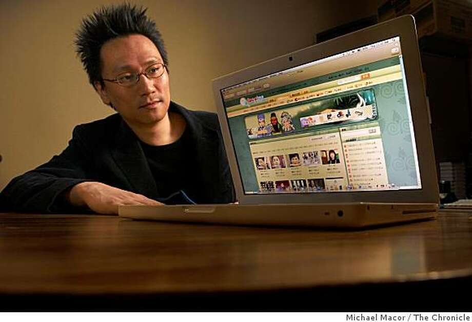 "Calvin Pak, is the  founder of ""FACEKOO"",  a social networking internet site  a Chinese company aiming to serve the chinese speaking people. Pak with frames from his website, in San Francisco, Calif. on Dec. 11, 2008. Photo: Michael Macor, The Chronicle"