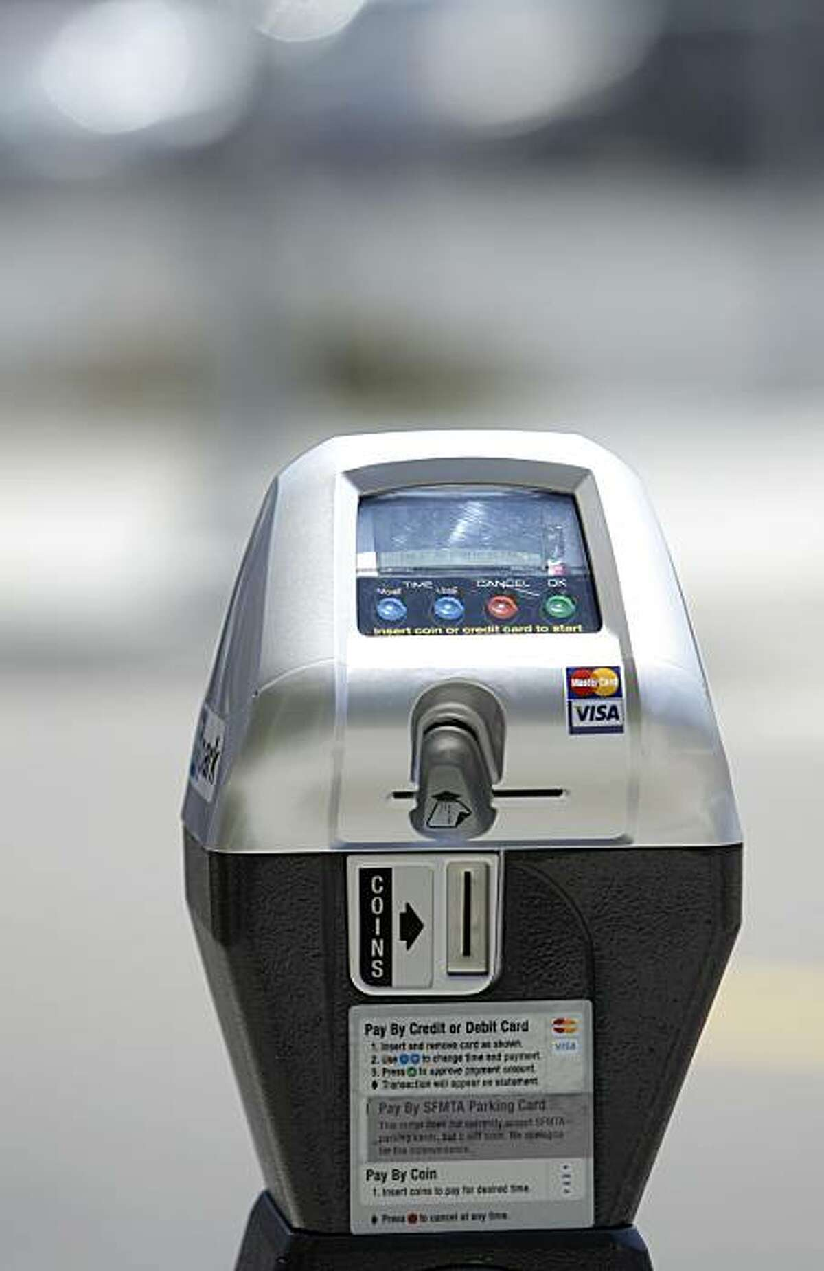 A new San Francisco parking meter intended to help San Francisco officials test how meter rates affect drivers' parking choices is shown on Hayes Street in San Francisco, Tuesday, July 27, 2010. Officials say starting early next year, they will begin adjusting the meters' rates and time limits. To see how drivers react, sensors in the ground will monitor empty spaces and how long each vehicle stays parked in one spot.