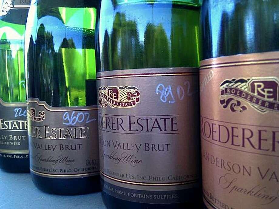 Bottles of old nonvintage Roederer Estate Brut. Photo: Jon Bonne, The Chronicle