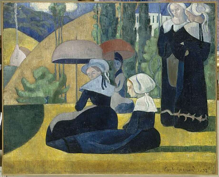 """Breton Women with Umbrellas"" (1892) oil on canvas by Emile Bernard Photo: Unknown, Musee D'orsay, Paris"