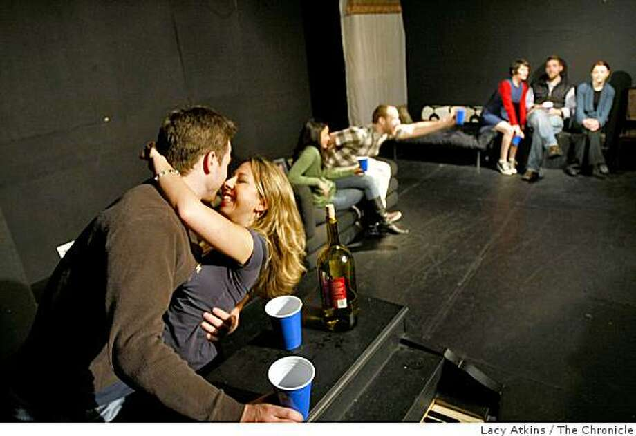 Dan Williams (left) , Kate Jones, Nina Harada, Jeremy Mascia, Stefanie Goldstein, Rob Ready and Christy Crowley are the cast of the show Forking in a rehearsal,  Sunday Jan. 4, 2009, at the Off Market Theater in San Francisco, Calif. Photo: Lacy Atkins, The Chronicle