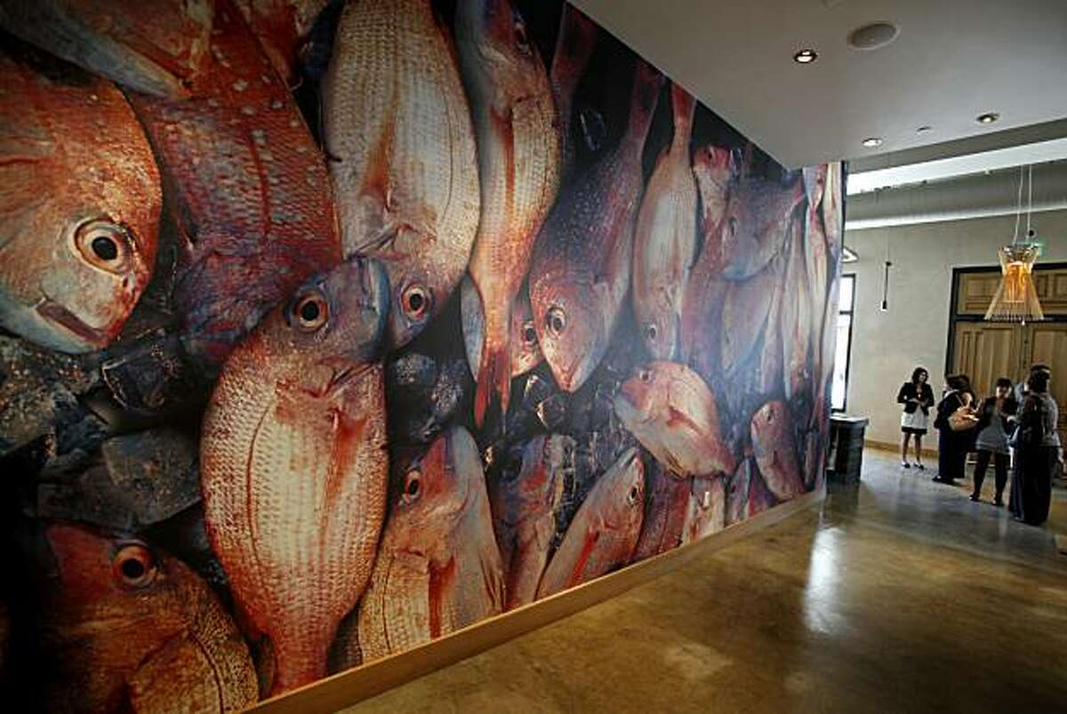 A large graphic fish photograph greets visitors to Morimoto Napa on Main Street. Various popular restaurants in Napa, Calif. including Bistro Don Giovanni, Angele, Morimoto Napa and eating places in the Oxbow Public Market.