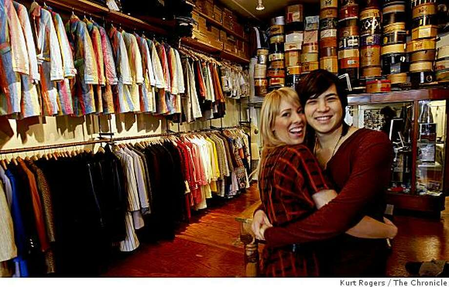 (Left) Holly Kricher and Michael Weaver are the owners of Shotwell a clothing store on Geary st are photographed at one of their favorite spots al�s Attire on Grant Ave in North Beach.. on Thursday  Jan 8,  2009 in San Francisco , Calif Photo: Kurt Rogers, The Chronicle