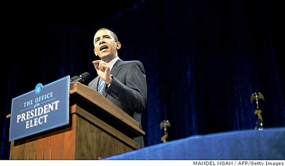 US President-elect Barack Obama speaks on the economy  January 8, 2009 at George Mason University in Fairfax, Virginia. Obama warned that only immediate and massive spending to jolt the world's largest economy could avert a deep recession and double-digit unemployment.AFP PHOTO/Mandel NGAN (Photo credit should read MANDEL NGAN/AFP/Getty Images) Photo: MANDEL NGAN, AFP/Getty Images