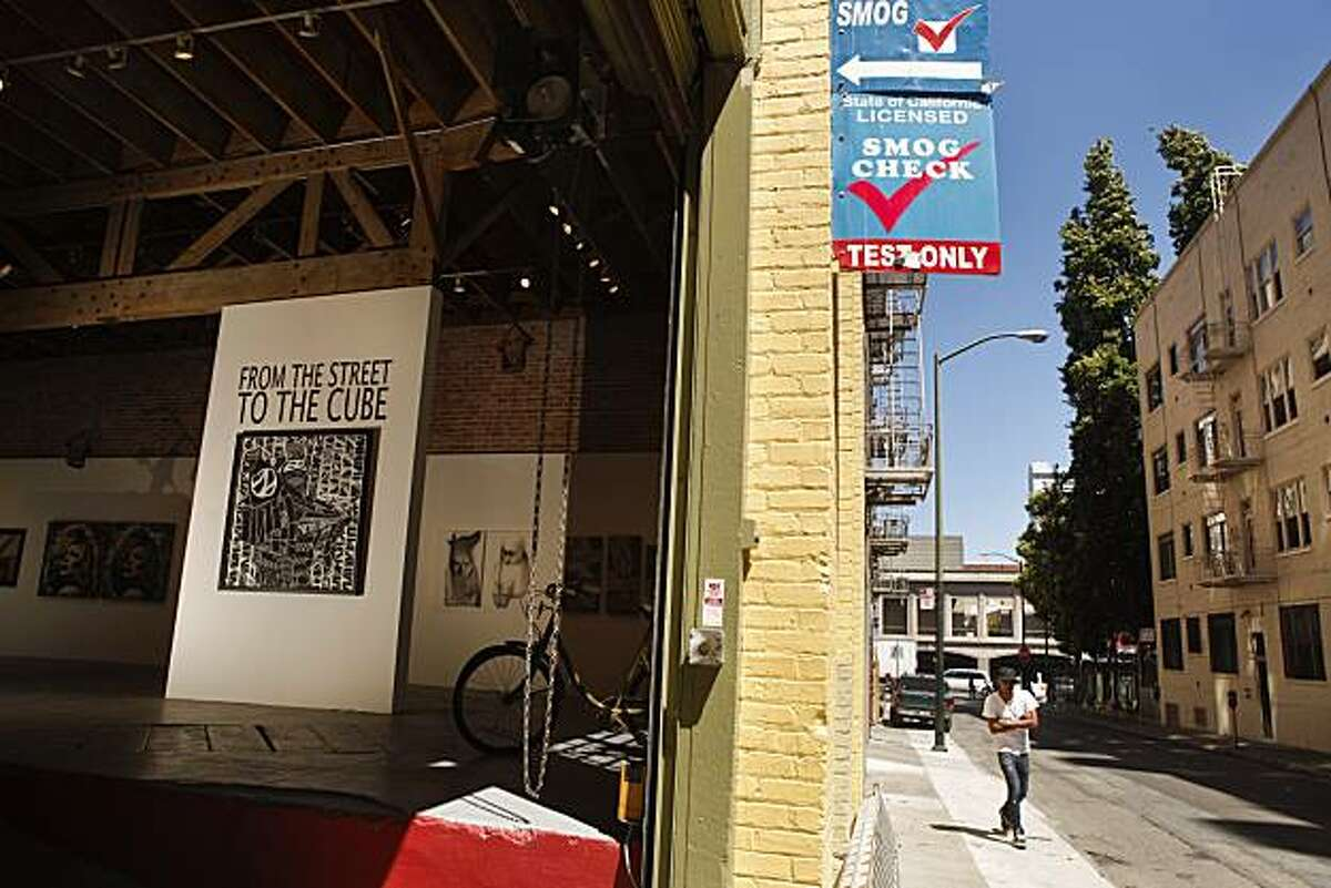 Justin Giarla has recently opened an art gallery in a former auto smog shop at 941 Geary Blvd. in San Francisco, Calif.. The gallery is aptly named 941Geary. The rear entrance on Myrtle Street, seen on Wednesday, Aug. 18, 2010, is where cars would enter the former shop.