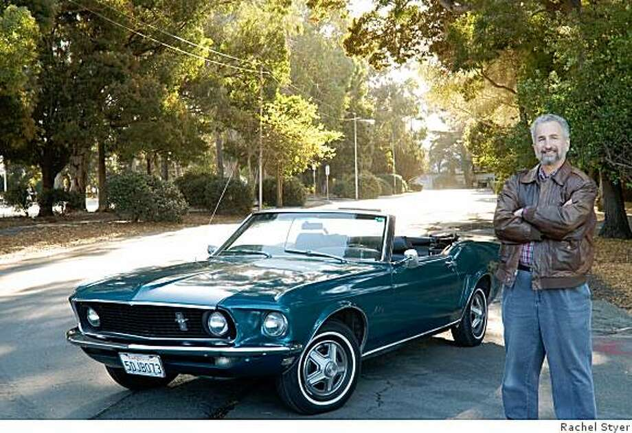 """Fred Feller loves to drive his Mustang with the top down and used to be accompanied by a huge, stuffed SpongeBob SquarePants. """"Bob often elicited squeals of delight from youngsters at the same time as their mothers were making appreciative noises about the car,"""" he says. Photo: Rachel Styer"""