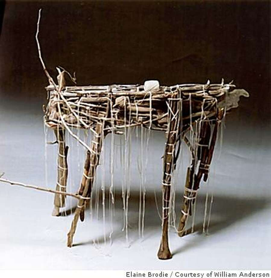 "1) An Early Table, Gord Peteran2004Twigs, string36"" H x 40"" W x 17"" D (91.4 x 101.6 x 43.2) Photo: Elaine Brodie, Courtesy Of William Anderson"