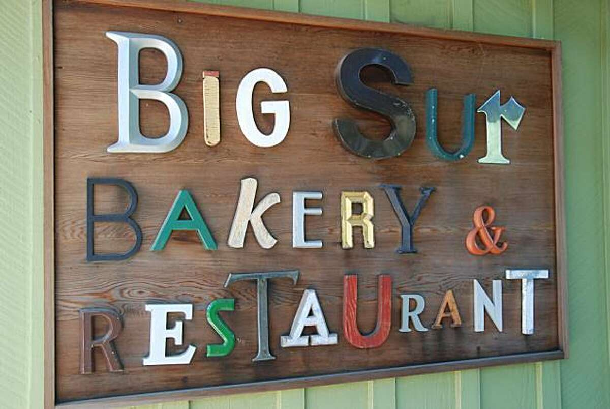 the funky sign at the Big Sur Bakery.