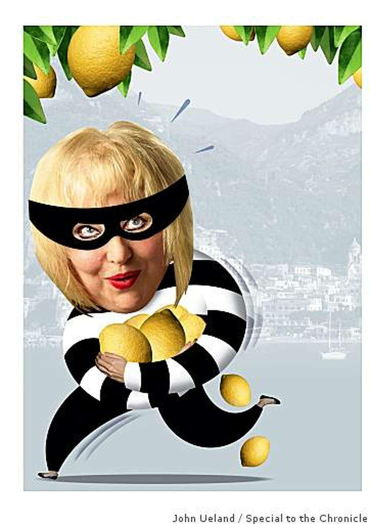 Marlena Spieler stealing her beloved Meyer lemons in Sorrento, Italy.Illustration by John Ueland