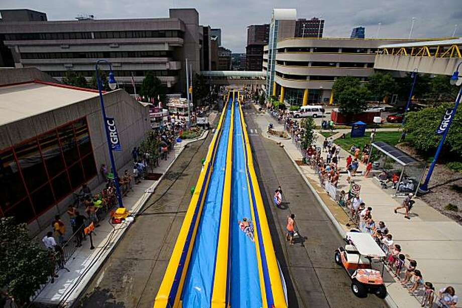 View from the top of the 500 foot long Lyon Street Waterslide on Saturday, August 21, 2010, in downtown Grand Rapids, Mich. Photo: Joel Hawksley, AP