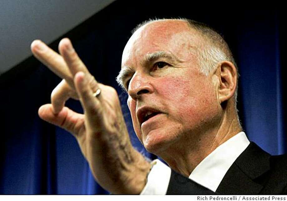 In this file photo from Nov. 5, 2008. Attorney General Jerry Brown discusses how his office will handle the passage of Proposition 8 during a news conference in Sacramento, Calif. Photo: Rich Pedroncelli, Associated Press